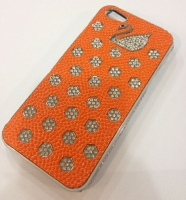 Fashion С камнями Swan cover case for iPhone 5/5S, orange (000602)