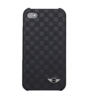 Чехол для iPhone 4/4S MINI Cooper Chequered leather back cover for black (MNHUP4SQBL)