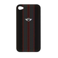 Чехол для iPhone 4/4S MINI Cooper Red Stripes leather back cover for black (MNHLP4STBL)